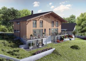 Visualisierung DEFH Holzfassaden