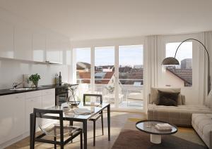 Kueche Wohnzimmer 3D-Visualisierung