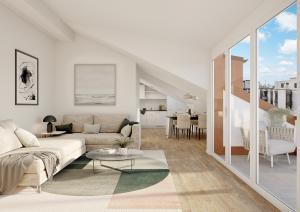 Innenansicht Wohnung mit Terrasse - 3D-Visualisierung