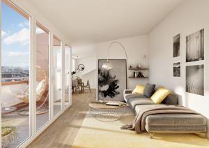 Wohnzimmer mit Terrasse - Architektur Visualisierungen