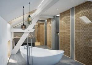 Modernes Badezimmer im Dachgeschoss - Visualisierung