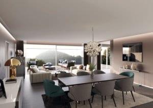 Wohnzimmer, Minotti Inneneinrichtung - Visualisierung