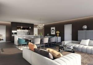 Wohnraum, Minotti Möblierung - Visualisierungen
