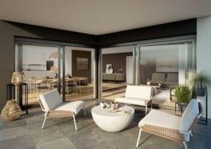 3D-Visualisierung Sitzplatz im Erdgeschoss