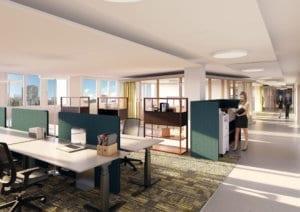 Architekturrendering Büroraum nach Umbau