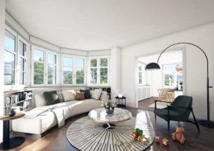 Visualisierung Wohnzimmer nach Umbau MFH Zollikon