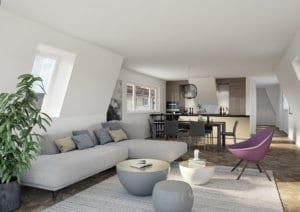 3D-Visualisierung Wohnzimmer/ Küche, Neubau MFH