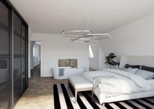 3D-Visualisierung Schlafzimmer mit Badewanne