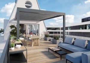 3D-Visualisierung Terrasse mit Pergola, MFH Zürich