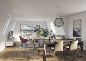 3D-Visualisierung Wohnraum, MFH in Kreis 4 Zürich