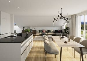 3D-Visualisierung Küche MFH Kappel am Albis