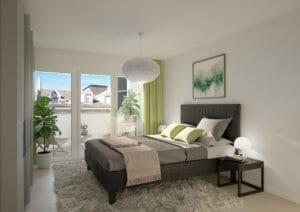 3D-Visualisierung Schlafzimmer Limmatstrasse ZH