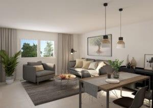 3D-Visualisierung Wohnzimmer Limmatstrasse ZH