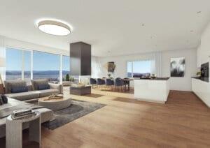 3D-Visualisierung Wohnzimmer MFH Wil
