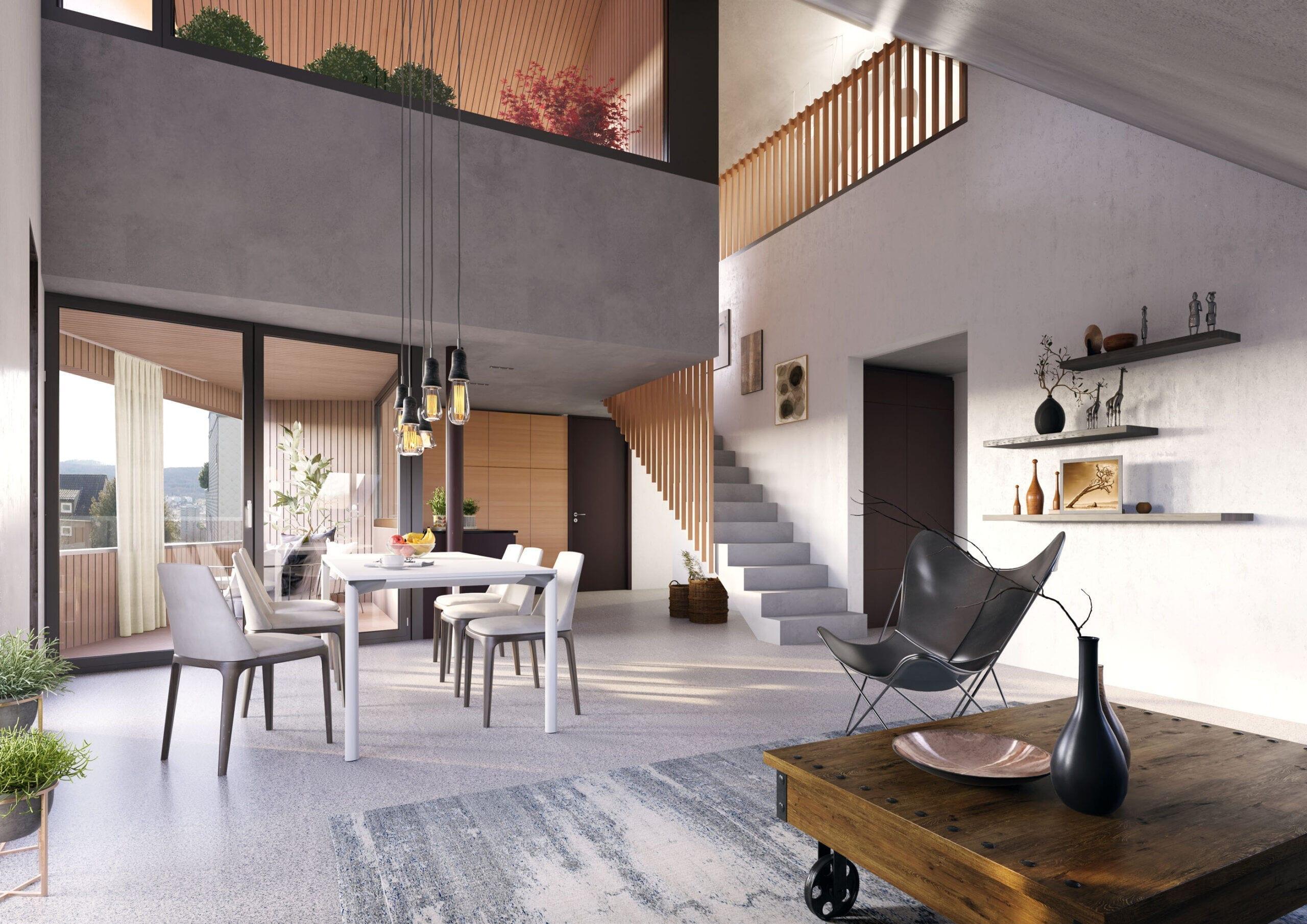 3D-Visualisierung Wohnzimmer MFH ZH