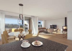 3D-Visualisierung Wohnzimmer2 MFH Utzigen