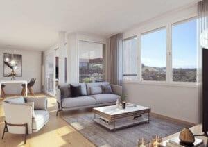 3D-Visualisierung Wohnzimmer3 MFH Utzigen